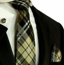 Black, White and Tan Plaid Paul Malone Silk Necktie Set (583CH)