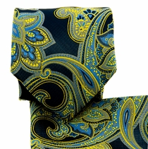 Black, Yellow and Blue Paisley Necktie Set (Q569-O)
