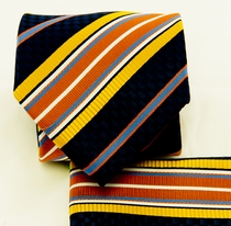 Black, Yellow and Orange Necktie and Pocket Square (Q581-A)