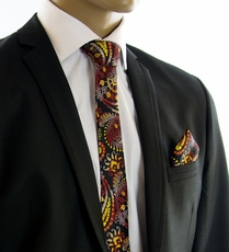 Black, Yellow and Red SLIM Tie Set by Paul Malone (Slim553H)