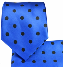 Blue and Black Necktie and Pocket Square