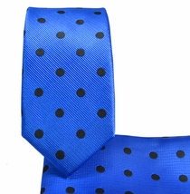 Blue and Black Slim Necktie and Pocket Square