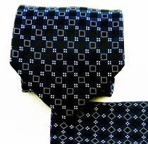 Blue and Black Necktie and Pocket Square Set (Q580-E)