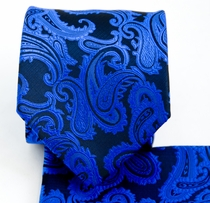 Blue and Black Necktie and Pocket Square Set (Q600-BB)