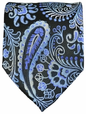 Blue and Black Paisley Necktie by Paul Malone . 100% Silk (551)