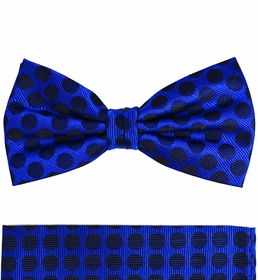 Blue and Black Silk Bow Tie Set by Paul Malone