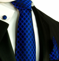 Blue and Black Silk Necktie Set by Paul Malone (560CH)