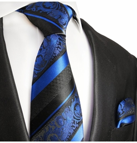 Blue and Black Silk Tie Set by Paul Malone