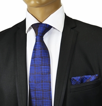 Blue and Black Silk Tie Set of the Paul Malone Red Line