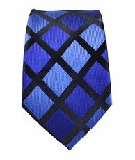Blue and Black Slim Silk Tie by Paul Malone