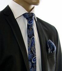 Blue and Black SLIM Tie Set by Paul Malone (Slim551H)