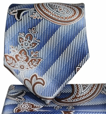 Blue and Brown Paisley Necktie and Pocket Square