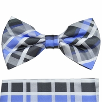 Blue and Charcoal Plaid Paul Malone Bow Tie and Pocket Square Set . 100% Silk (BT991H)