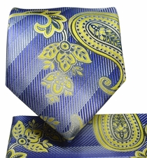 Blue and Gold Paisley Necktie and Pocket Square