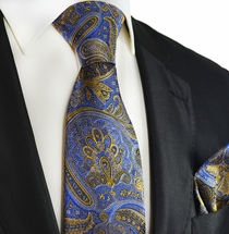 Blue and Gold Silk Tie and Pocket Square by Paul Malone Red Line