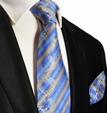 Blue and Gold Silk Tie and Pocket Square . Paul Malone Red Line