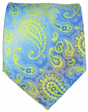 Blue and Green Paisley Men's Tie