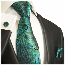 Green and Blue Paisley Silk Tie Set by Paul Malone