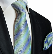 Blue and Green Silk Tie and Pocket Square . Paul Malone Red Line