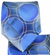 Blue and Grey Necktie and Pocket Square Set