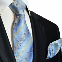 Blue and Grey Silk Tie and Pocket Square . Paul Malone Red Line