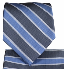 Blue and Grey Striped Tie and Pocket Square Set