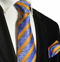 Blue and Orange Silk Tie and Pocket Square .  Paul Malone Red Line
