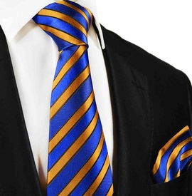 Blue and Orange Striped Silk Tie and Pocket Square by Paul Malone