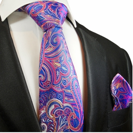 Blue and Pink Paisley Silk Tie by Paul Malone