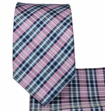 Blue and Pink Plaid Slim Necktie and Pocket Square (Q126)