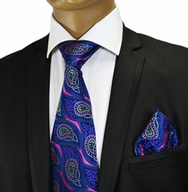 Blue and Pink Silk Tie and Pocket Square by Verse 9