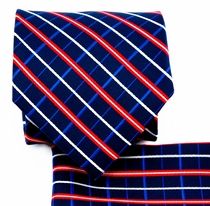 Blue and Red Necktie and Pocket Square (Q578-B)
