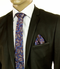 Blue and Red Paisley SLIM Silk Tie Set by Paul Malone (Slim579H)
