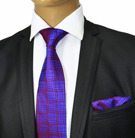 Blue and Red Silk Tie Set by Paul Malone