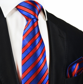 Blue and Red Striped Silk Tie and Pocket Square by Paul Malone