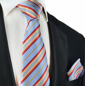 Blue and Red Striped Silk Tie Set by Paul Malone