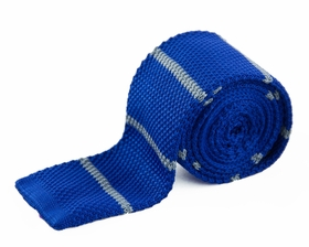 Blue and Silver Knit Tie by Paul Malone (KN666)