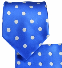 Blue and Silver Necktie and Pocket Square