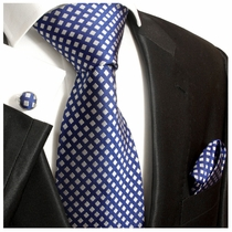 Blue and Silver Paul Malone Silk Tie Set (321CH)