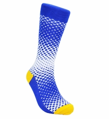 Blue and White Cotton Dress Socks by Paul Malone