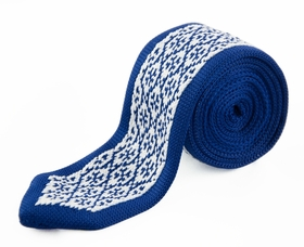 Blue and White Knit Tie by Paul Malone (KN664)