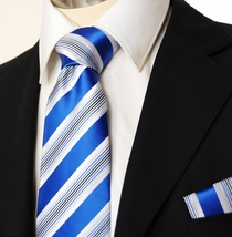 Blue and White Men's Necktie and Pocket Square (Q19)