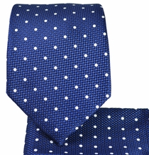 Blue and White Necktie and Pocket Square