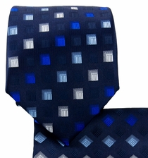 Blue and White Necktie and Pocket Square Set (Q570-D)