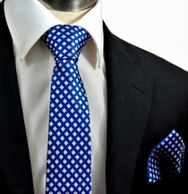 Blue and White Paul Malone SLIM Silk Necktie and Pocket Square Set (321H)