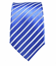 Blue and White Slim Silk Tie by Paul Malone