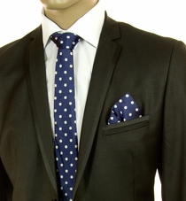 Blue and White SLIM Tie Set by Paul Malone (Slim569H)