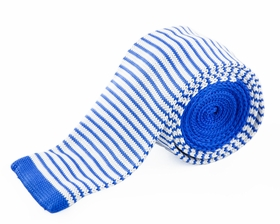 Blue and White Striped Knit Tie by Paul Malone (KN660)