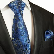 Blue and Yellow Silk Tie Set by Paul Malone