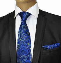 Blue and Yellow Silk Tie Set by Paul Malone Red Line